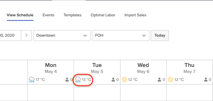 Weather forecasting in scheduling tool