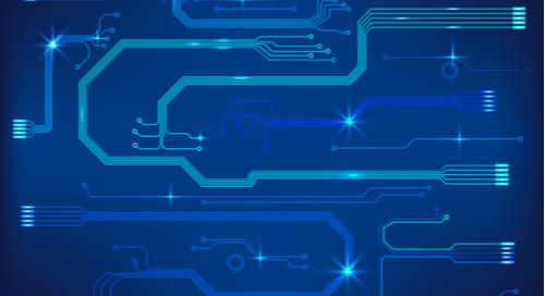 conception de circuit imprimé en bleu