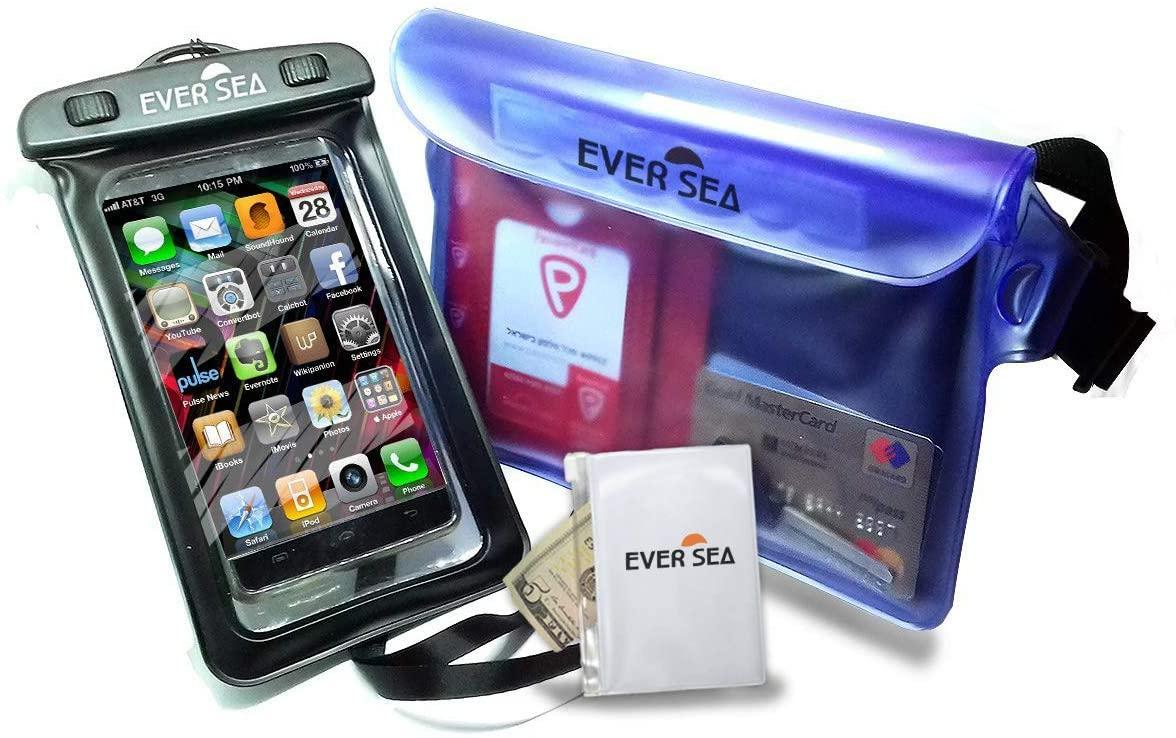 The images shows a waterproof bag for a smartphone with accessory waterproof pouch. Very useful if you sink your canoe, to be able to call for help.