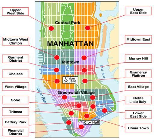 Descrição: Mapa de los barrios de Manhattan