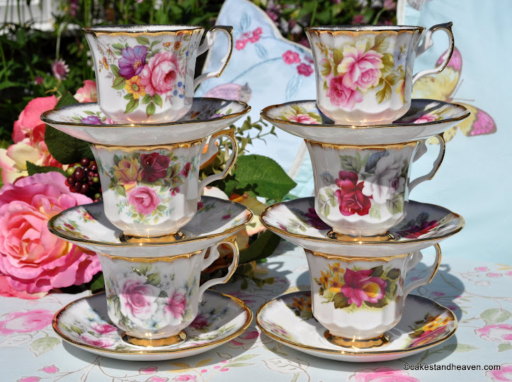 set of six chintz floral vintage teacups and saucers