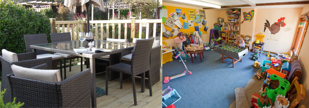 Sit back with a glass of wine while the children play in the playroom at Bampfield Farm.