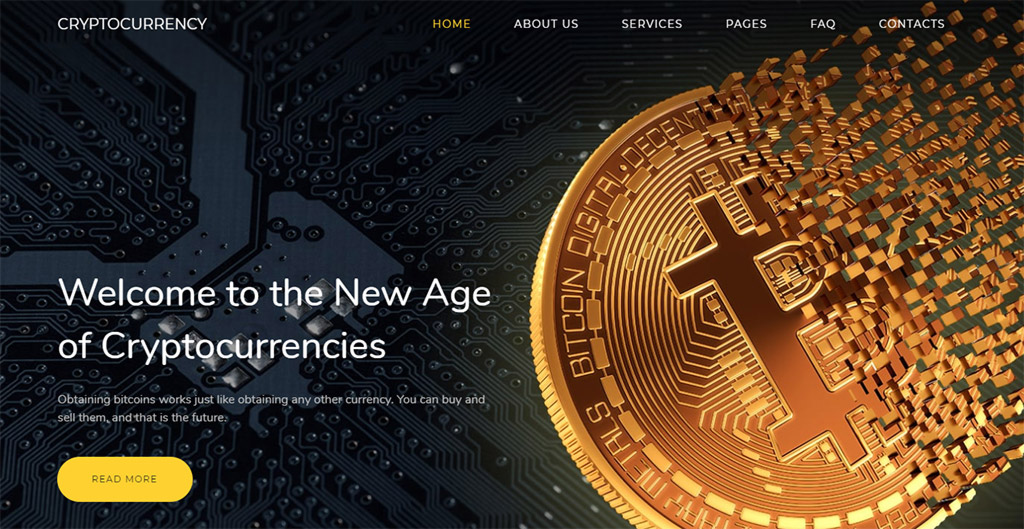 modelo de site cryptocurrency