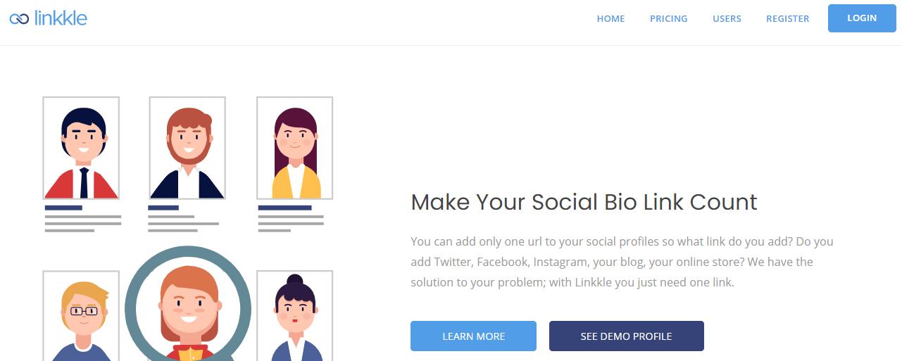 página inicial da ferramenta Linkkle