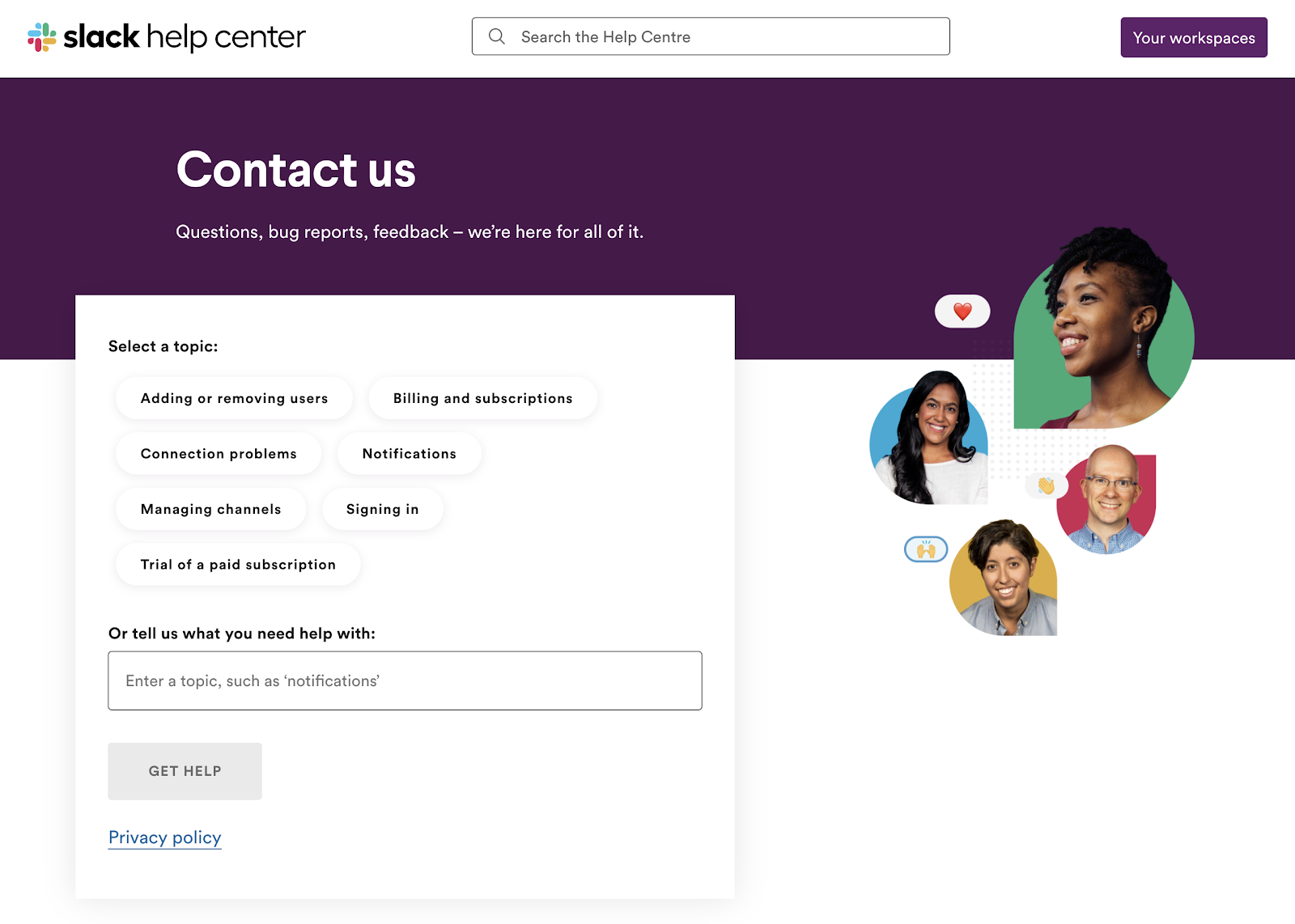 Slack software support contact page