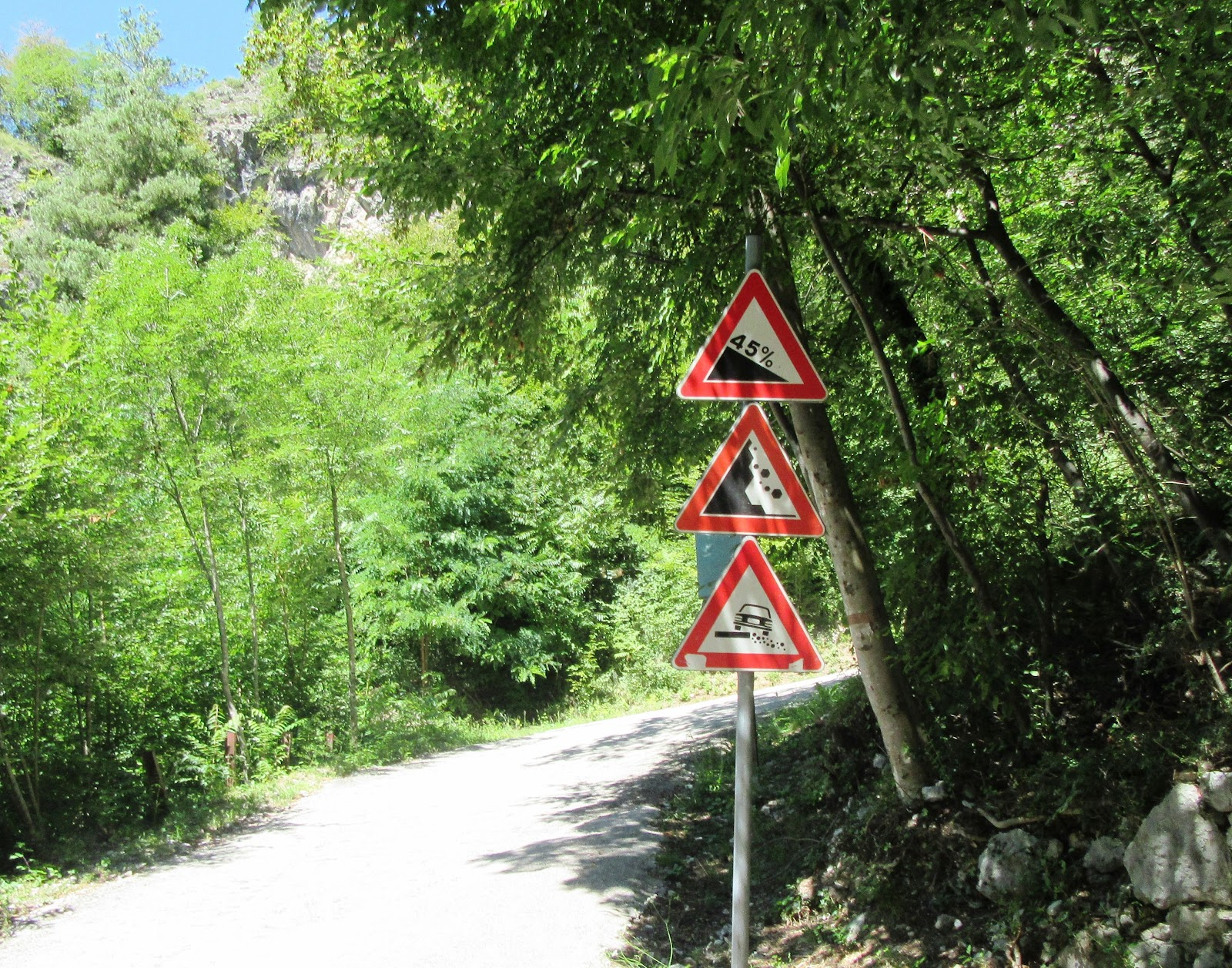 45% steepness road sign on Scanuppia Italy cycling climb.
