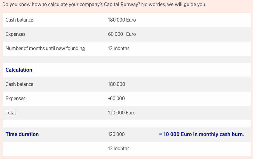 Capital runway for startups