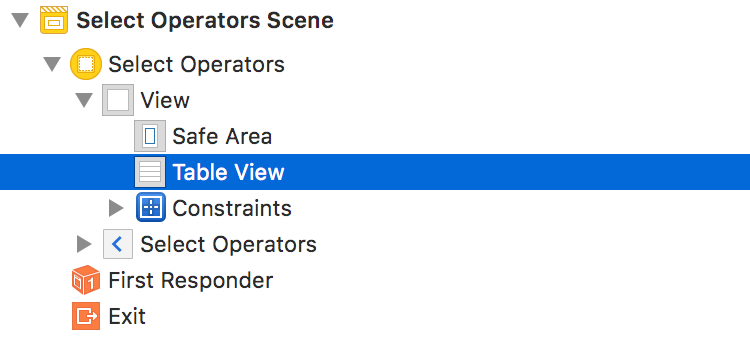 Add a UITableView to the View of the Selector OPerators View Controller