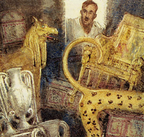Image - He Found the Tomb of the Young King. Lord Carnarvon financed one last search ... and Howard Carter discovered the lost burial chamber of Tutankhamen. Scan of small illustration which has been digitally enhanced to assist repro, © Look and Learn / Bridgeman Images