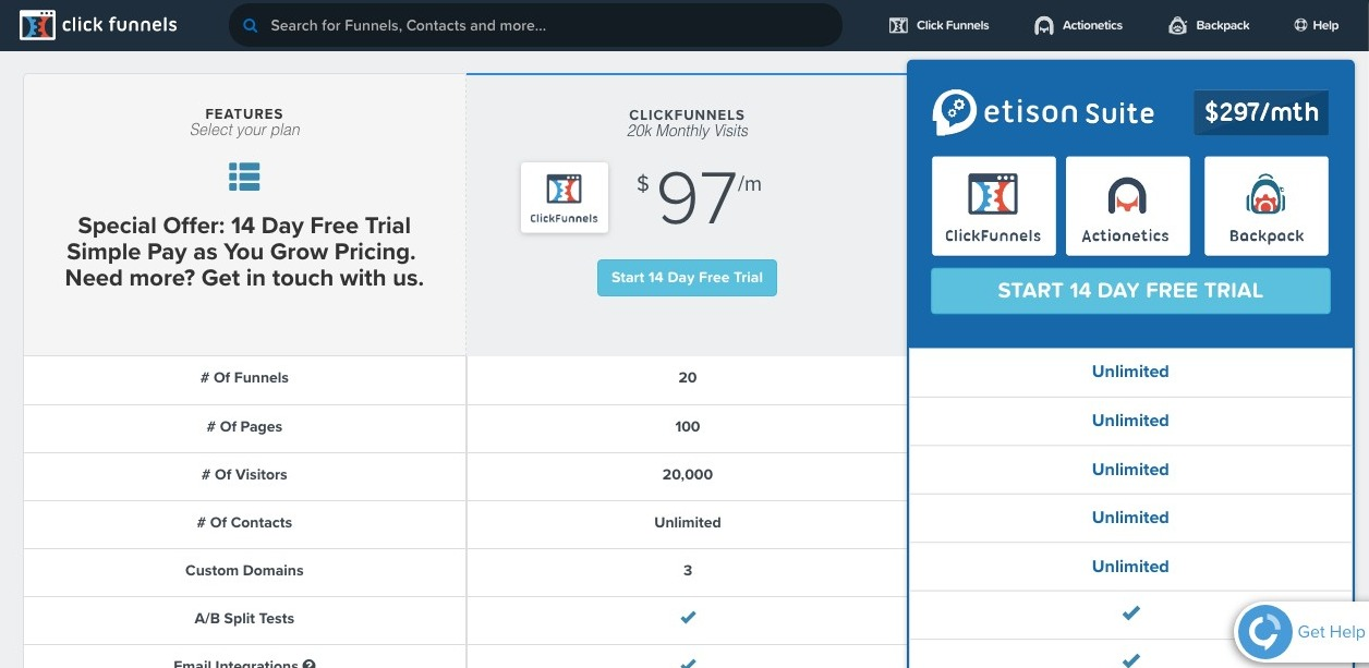 click funnels pricing
