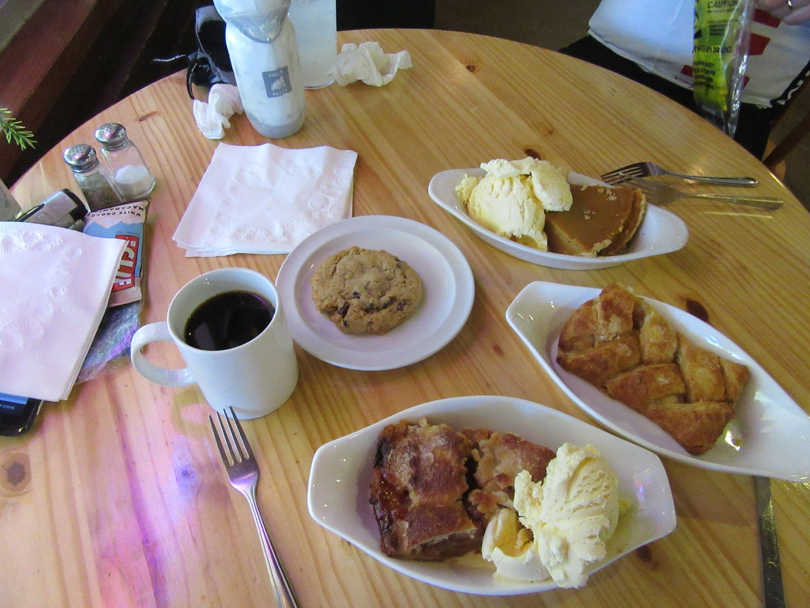 Table with coffee and pastries at end of Mt Palomar bicycle climb