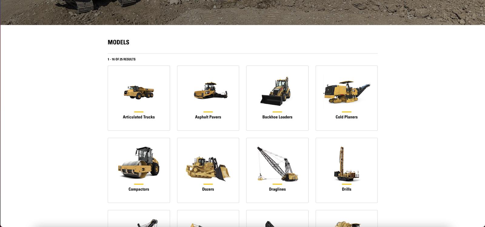Caterpillar website design