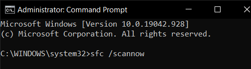 """Type """"sfc /scannow"""" in Command Prompt"""
