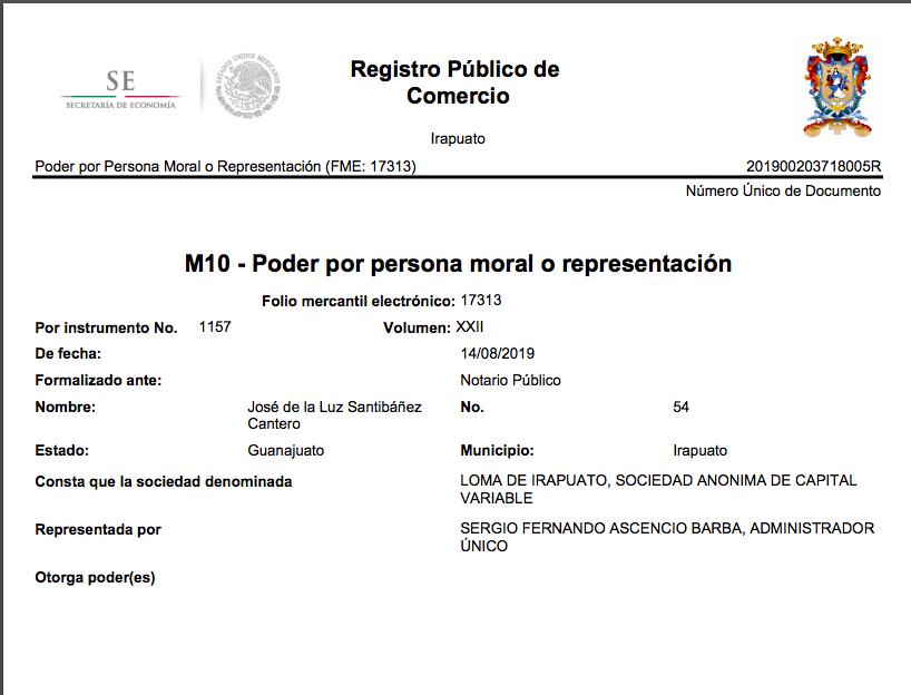 En el Registro Público del Comercio también aparece como único administrador de la empresa Loma de Irapuato