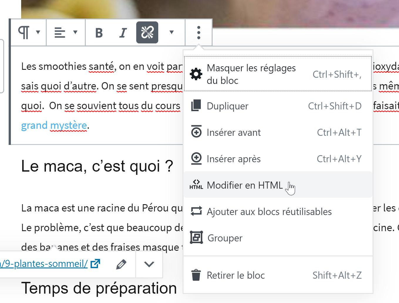 modifier le lien sur wordpress