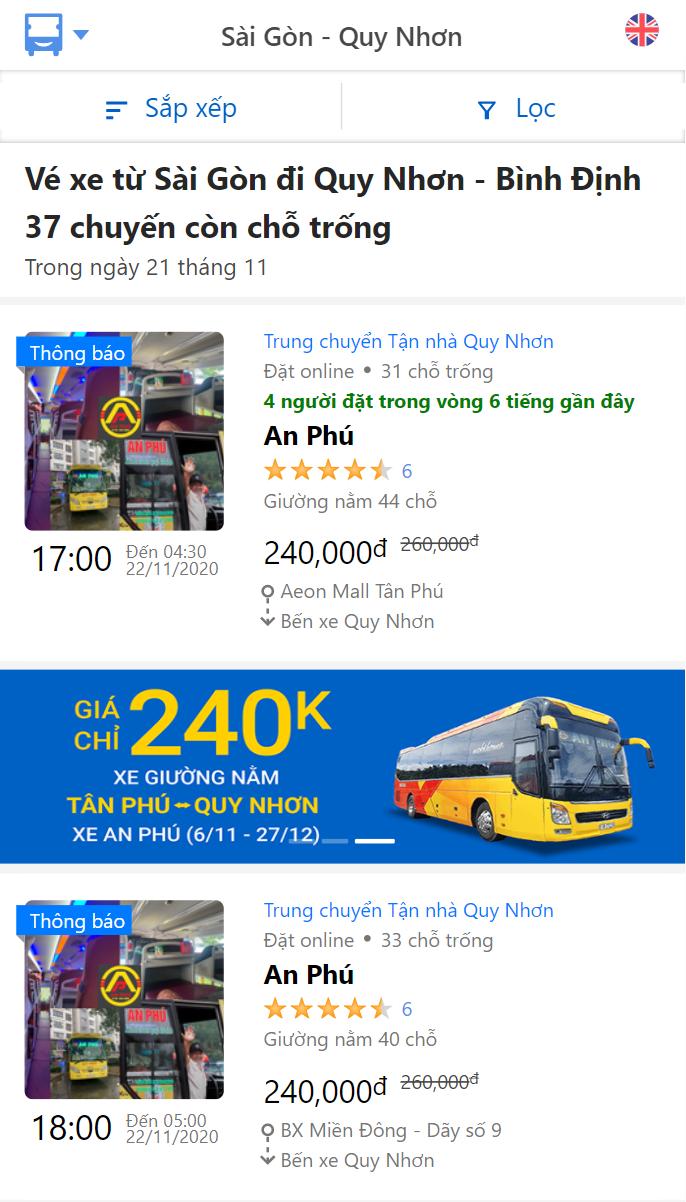 Xe An Phú đi Quy Nhơn