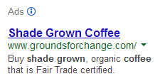 Google sidebar coffee ad
