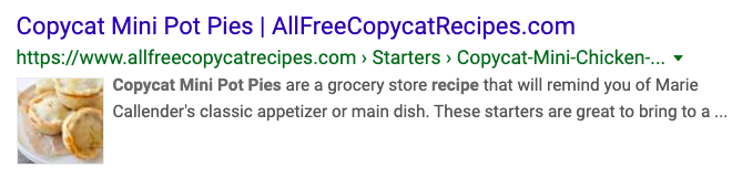 recipe schema in search results