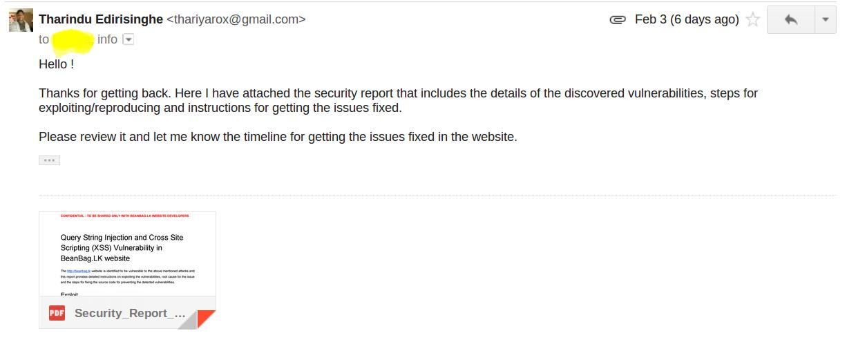 SECURITY INTERNAL   COM: XSS Vulnerability in BeanBag LK
