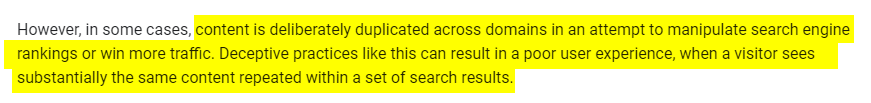 google policy on duplicate content