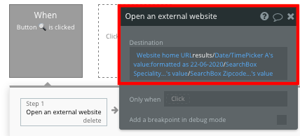 Bubble no code Zocdoc clone tutorial custom URL parameters