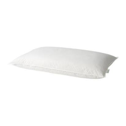Ikea GOSA PINJE Pillow, a low profile down feather pillow, stomach