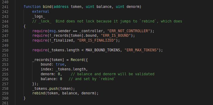 Balancer CodeBlock: Bind function
