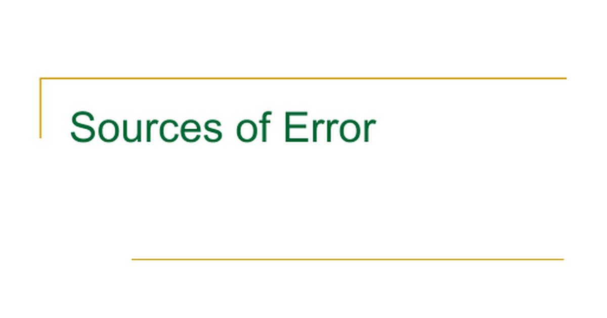 Sources Of Error Google Slides