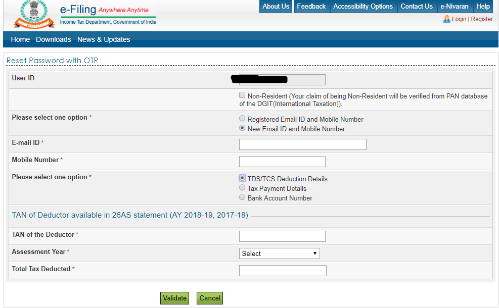 resetting password with new email and mobile number on Income tax site