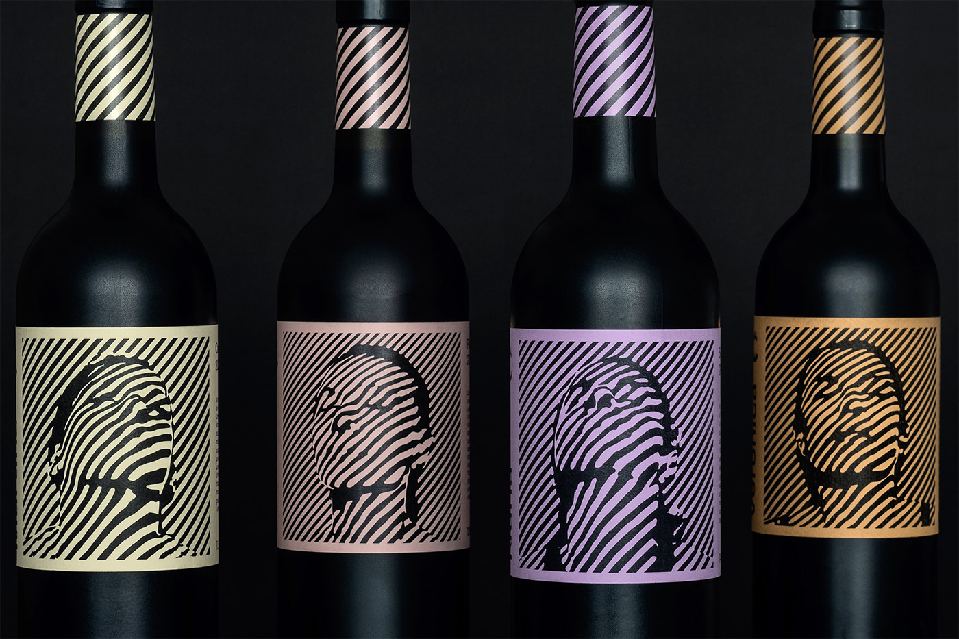 Casa Cardona wines. Group shot of the label artwork portraits