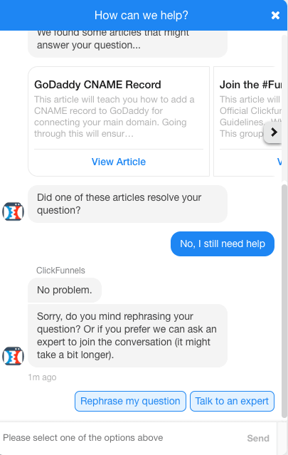 clickfunnels support chat window