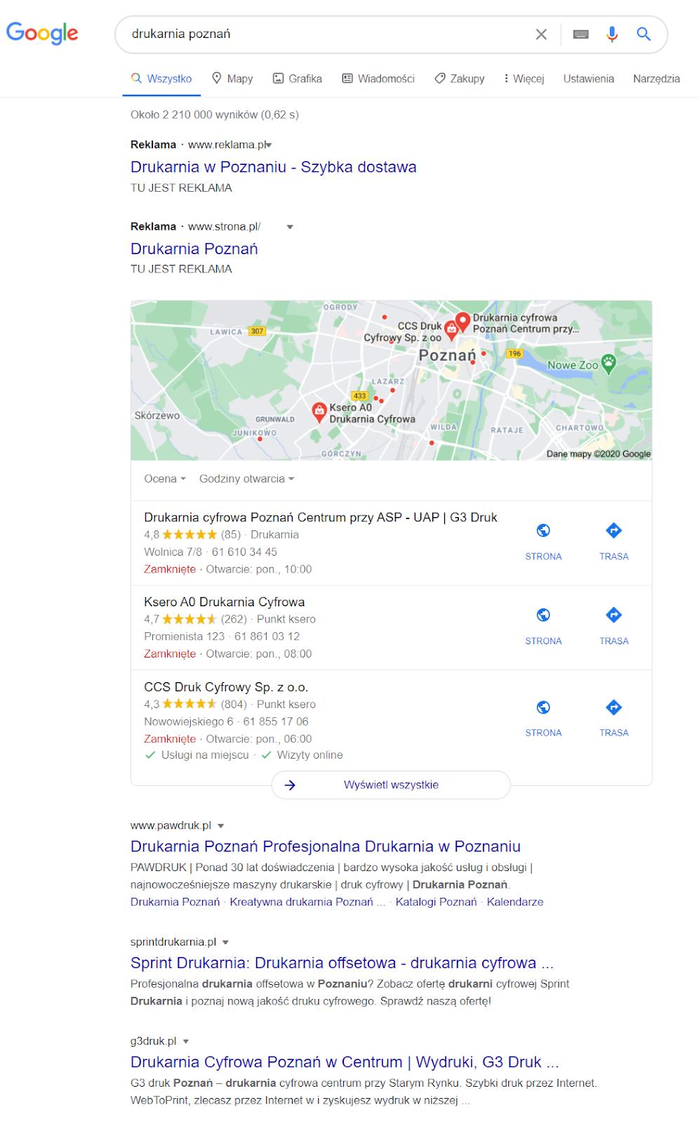 pozycjonowanie w google maps desktop