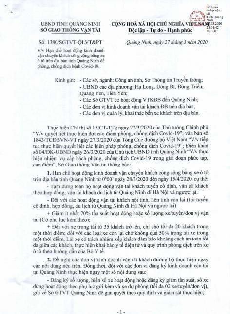 Công văn hạn chế hoạt động kinh doanh vận tải hành khách tỉnh Quảng Ninh