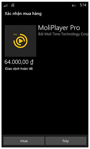 Mua ứng dụng Windows Phone bằng thẻ TRUSTcard - 130009