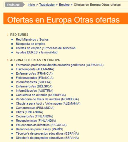 oferta de empleo en Europa dentro del portal trabajastur