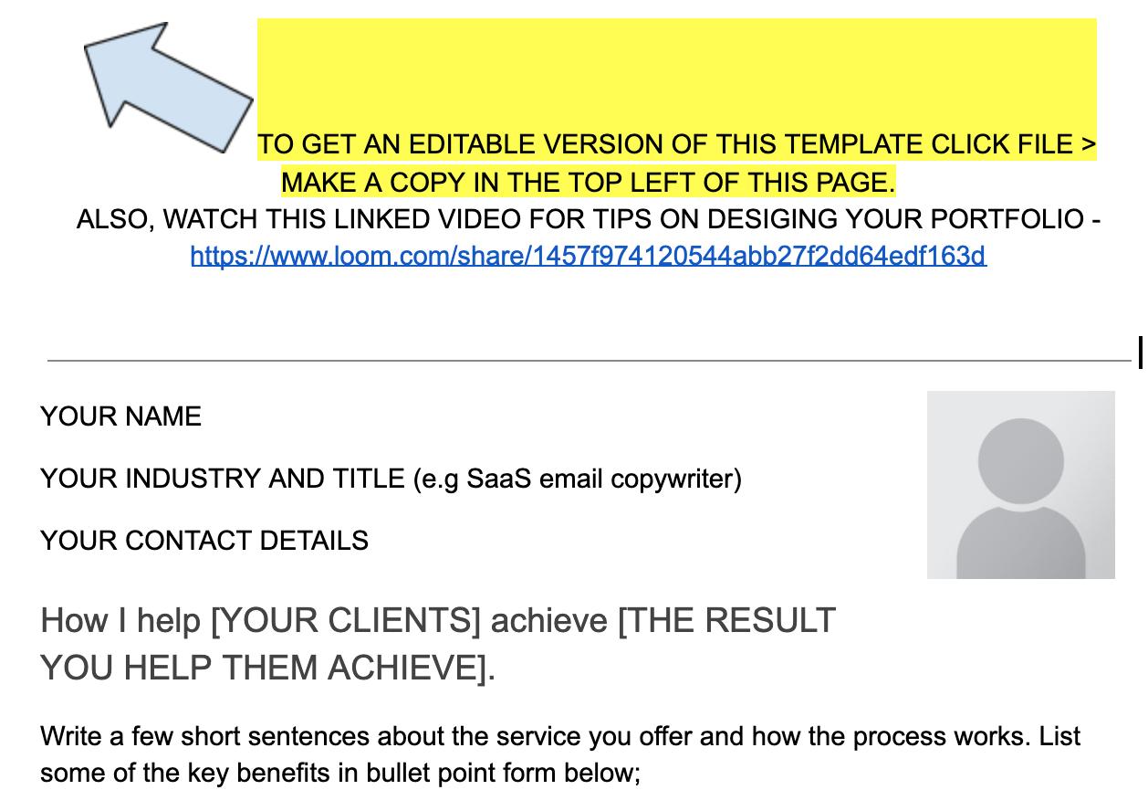 Freelance copywriter portfolio template