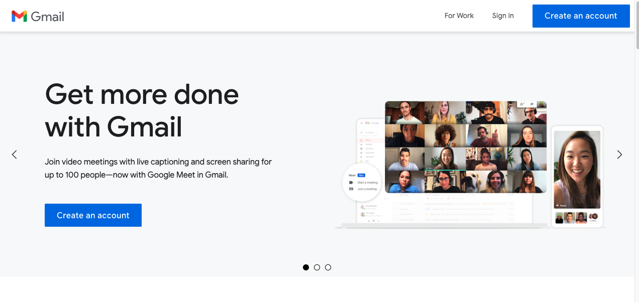 Image of Gmails landing page prompting you to sign up for free email service