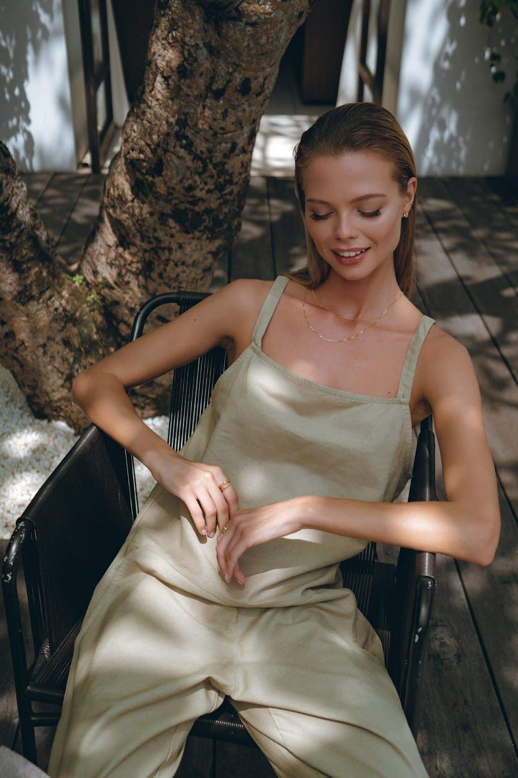 Linen Jumpsuit in Khaki