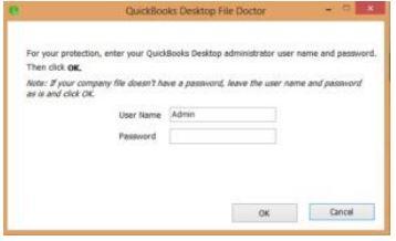 Quickbooks file doctor : admin & pwd