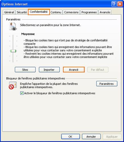 Options Internet - onglet Confidentialité