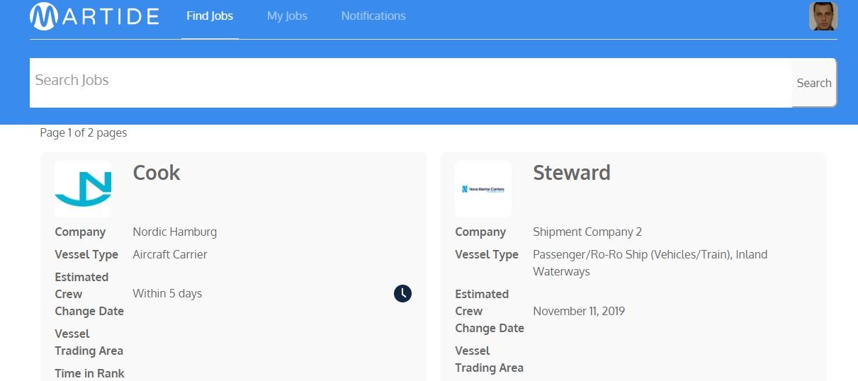 Martide website showing the seafarer's Find Jobs page