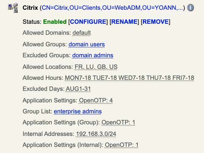 Paramètre d'administration Citrix