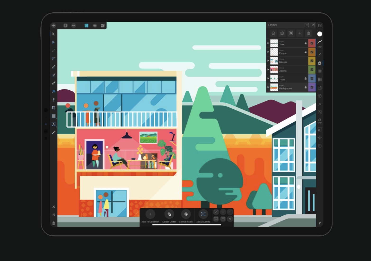 ipad with illustration drawing of residential house in colorful palette