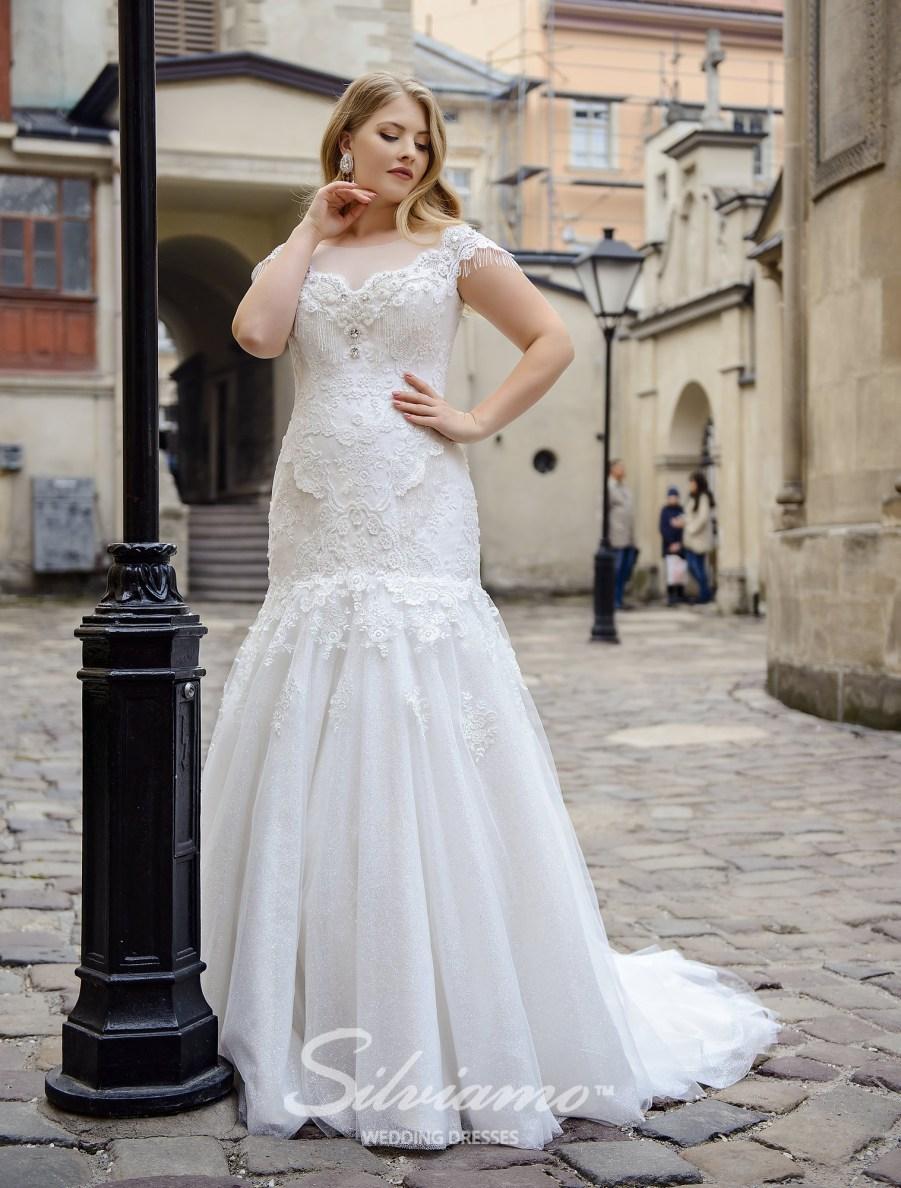 Свадебное платье рыбка большого размера