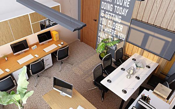 Mẫu thiết kế văn phòng công ty nhỏ diện tích 20m2