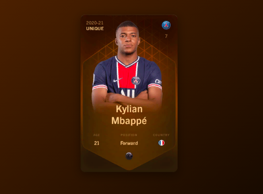 Изображение NFT-карточки Килиана Мбаппе на платформе Sorare