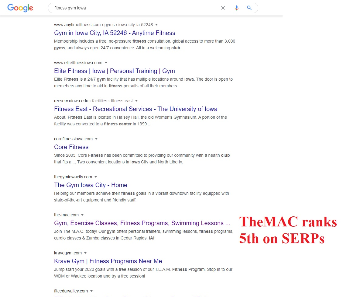 TheMAC ranking 5th on Search Engine Results Pages (SERPs)