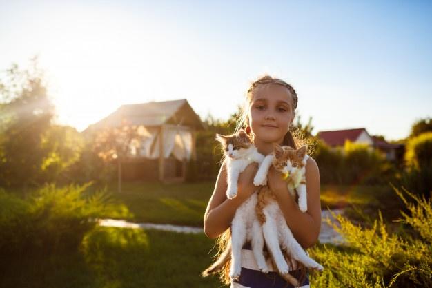 Girl holding two kittens