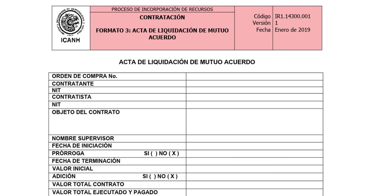 Ir1 14300 001 Acta De Liquidación De Mutuo Acuerdo Docx
