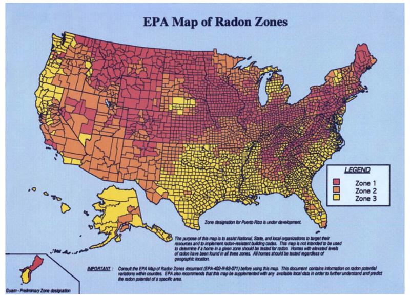 radon zones US